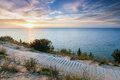 Sunset over Lake Michigan at Empire Bluff - Sleeping Bear Dunes Royalty Free Stock Photo