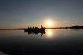 Sunset over lake Nebunu in Danube Delta, Romania