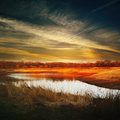 Sunset over the lake in park Royalty Free Stock Photos