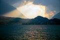 Sunset over the lake thun switzerland near interlaken Stock Photography