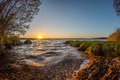 Sunset over lake vaxjo sweden Royalty Free Stock Image
