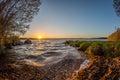 Sunset over lake Royalty Free Stock Photo