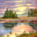Sunset over lake watercolor landscape the glow of the a calm Stock Photo