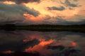 Sunset over the lake wonderfull in woodland Stock Photo