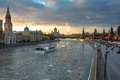 Sunset over Moscow river and Kremlin embankment at winter Royalty Free Stock Photo