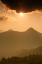 Sunset over mountains in nan thaialnd Royalty Free Stock Photo