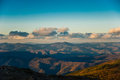 Sunset over mountains sikhote alin primorskiy kray russia Stock Image
