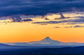 Sunset over mt hood orange sky seen during from bend oregon Royalty Free Stock Image