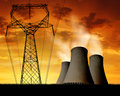 Sunset over nuclear power plant Royalty Free Stock Images