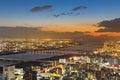 Sunset over Osaka city residence downtown Royalty Free Stock Photo