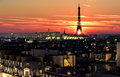 Sunset over Paris Royalty Free Stock Photo