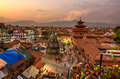 Sunset over  Patan Durbar Square in Kathmandu, Nepal Royalty Free Stock Photo