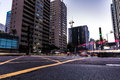 Sunset over Paulista Avenue in Sao Paulo, Brazil Royalty Free Stock Photo