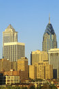 Sunset over Philadelphia skyline from the Schuylkill River, PA Royalty Free Stock Photo