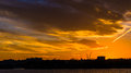 Sunset over the Potomac River in Washington, DC. Royalty Free Stock Photo