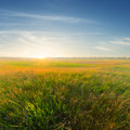 Sunset over a prairie green fields at the Stock Photography