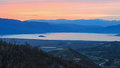 Sunset over prespa lake greece Stock Images