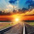 Sunset over railroad Royalty Free Stock Photo
