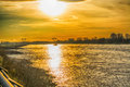 Sunset over the Rhine. Royalty Free Stock Photo