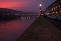Sunset over river Arno in Florence Royalty Free Stock Photo