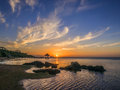 Sunset over roatan island off of honduras Stock Images