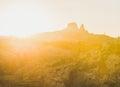 Sunset over rocks of Goreme and Uchisar castle, Cappadocia, Turkey Royalty Free Stock Photo