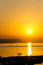 Sunset over sea cyprus ayia napa vertical colorful Stock Photos