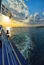 Sunset over sea on ferry in Greece Royalty Free Stock Photo