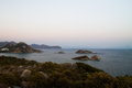 Sunset over sea and mountains in datca turkey Stock Photography