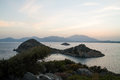 Sunset over sea and mountains in datca turkey Stock Photos