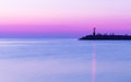 Sunset over sea. Twilight, Purple sky Royalty Free Stock Photo