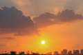 Sunset over sharjah uae golden the skyline of the city of united arab emirates Royalty Free Stock Photos
