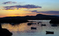 Sunset over a small bay in anglesey Royalty Free Stock Photo
