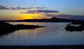 Sunset over a small bay in anglesey Stock Image