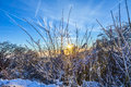 Sunset over snow-covered landscape Royalty Free Stock Photo