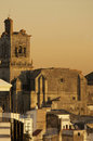 Sunset over the town cathedral santa maria de la ascuncion found in arcos de la frontera during a Stock Image