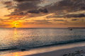 Sunset over a Tropical Beach Royalty Free Stock Photo