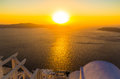 Sunset overlooking caldera imerovigli santorini island greece wedding venue during Stock Photos