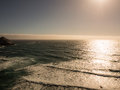 Sunset on pacific ocean in highway big sur ca usa Royalty Free Stock Image