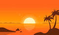 At sunset palm on beach vector Royalty Free Stock Photo