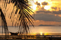 Sunset with palm tree in front and  defocused boat Royalty Free Stock Photo