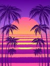 Sunset with palm trees, trendy purple background. Vector illustration, design element for congratulation cards, print