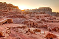 Sunset at petra high view point of tombs and amphitheater Stock Photo