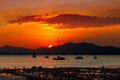 Sunset in phuket thailand a very popular tourist destination for europeans and australians Stock Images
