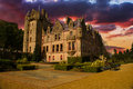 Sunset picture of belfast castle in northern ireland during a colorful Stock Photo
