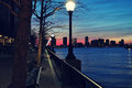 Sunset on a pier at the Hudson River Royalty Free Stock Photo