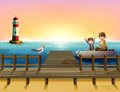 A sunset at the port with boys fishing illustration of Stock Images