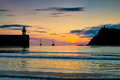 Sunset at Port Erin in the Isle of Man Royalty Free Stock Photo