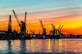 Sunset in port of gdansk during the orange Royalty Free Stock Photos