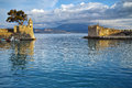 Sunset at the port of Nafpaktos town, Greece Royalty Free Stock Photo
